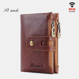 Men Retro Genuine Leather RFID Blocking 15 Card Slots Wallet