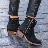 Women Fashion Rivet Chunky Heel Zipper Ankle Boots