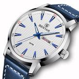 Benyar 5145 Fashion Men Watch Waterproof Automatic Week Display Leather Strap Quartz Watch