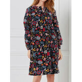 Women Button Vintage Casual Loose Floral Dress with Pockets