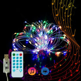 5M Music Activado por voz 50LED USB Fairy String Light Boda Decoración navideña con 17 teclas Control remoto