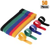 50pcs Reusable Fastening Cable Ties Microfiber Cloth 6-Inch Hook and Loop Cord