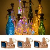 Exterior 1M 10LED Square Bottle Cork Cobre Alambre Fairy String Light Solar Powered Christmas Holiday Party Lámpara