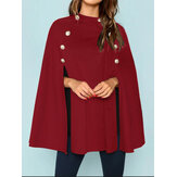 Women British Style Solid Color Button Loose Elegant Cloak