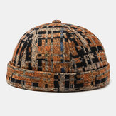 Unisex Plush Soft Fabric Plaid Stitching Round Top Fashion Landlord Cap Beanie Skull Caps Brimless Hats