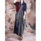 Mulheres manga comprida casual Loose Check Patchwork Maxi Dress