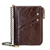 RFID Genuine Leather 10 Card Slots Anti-Theft Wallet For Men