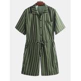 Mens Vintage Striped Rompers Set Short Sleeve Onesie Fashion Jumpsuit