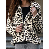 Dames Winter Leopard Print Fleece jassen met rits