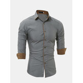 Mens Personality Contraste Color Casual Solid Color Slim Designer Camisa