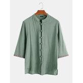 Camisas bordadas con botones 100% algodón para hombre Oriental vendimia Camisas