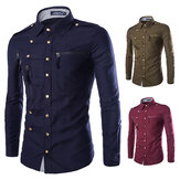 Mens Stylish Fashion Druckknopf Multi Pockets Reißverschlüsse Epaulet Dekoration Slim Fit Designer Shirt
