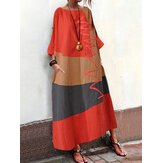 S-5XL Mulheres Vintage Loose Baggy Long Casual Casual Maxi Dress