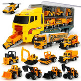 6/12 PCS 11 In 1 Diecast Model Construction Truck Vehicle Car Model Toy Set Play Vehicles in Carrier Truck