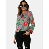 Long Sleeve Bandage Print Causal Floral Blouse