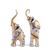 Estatua de elefante Madre Hijo Arte Resina Artesanía Adorno Decoraciones de mesa de escritorio para el hogar