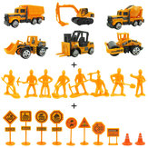24 szt. 1:64 Alloy Engineering Truck Excavator Forklift with Road Sign Minifigure Diecast Model Set Toys