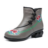 Women Embroidered Folkways Leather Frog Buttons Boots