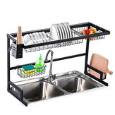 2 Tier Dish Drainer Over Double Sink Drying Rack Draining Tray Fruit Plate Bowl Kitchen Storage Rack