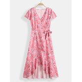 Bohemian Floral Print V-neck Drawstring Waist Short Sleeve Maxi Dress