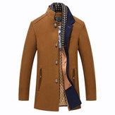 Kış Casual Kaban Eşarp Ayrılabilir Şık Yün Palto