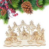 Loskii JM01693 DIY Christmas Wooden Toy Xmas Funny Party Desktop Decorations Christmas Wooden Ornaments
