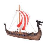 Retro Wikingowie Dragon Boat Model Ręcznie rzeźbiony statek Home Office Desk Decorations Gift