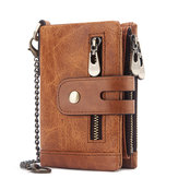 Men Genuine Leather Wallet RFID Anti-theft Short Zip Coin Hold Biker Chain Purse