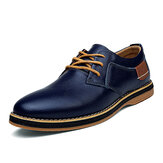 Men Genuine Leather British Style Comfy Oxfords Casual Shoes