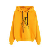 Drucken Love Drawstring Hooded Casual Sweatshirt