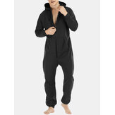 Men  Mulit Pockets Thicken Loungewear Zip Down Jumpsuit Plain Hooded Pajamas