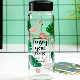 ホウケイ酸ガラスフラミンゴフルーツパターン抗高温ガラスカップ水ボトル