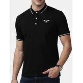 Мужской новый деловой хлопок с коротким рукавом с вышивкой Golf Casu
