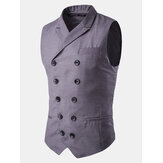 Herre British Style Slim Fit Business Mode Casual Double Breasted Waistcoats