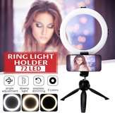 Live Video Dimmable LED Ring Light Photography Adjustable 360° Rotating Fill Light with Phone Clip Selfie Holder Tripod for Beauty Makeup