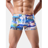 Mens Summer Beach Fashion Printing Quick Dry Swimwear Trunks