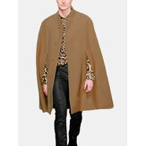 Mens New Mid Long Cloak Han Style Batwing Collar Casacos de pele