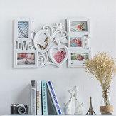 61 * 40 cm Beyaz Yaratıcı Aşk Şekilli Fotoğraf Çerçevesi Duvara Montaj 6 Resim Dekor Yeni