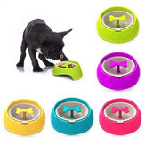 Pet Slow Eat Drink Bowl Feeder Cachorro Filhote de cachorro Rotary Anti Choke Puzzle Bone Shaped
