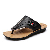 Men Leather Flip Flops Thick Bottom Comfortable Beach Can Be Immersed In Seawater Durable Sandals