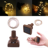 Solar Powered 1.5M 15LED Square Bottle Cork Copper Wire Fairy String Light Christmas Holiday Party Lamp