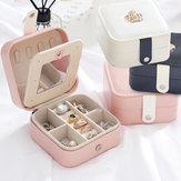 Joyas Caja Organizador Adornos de joyería de cuero de viaje portátiles Caso Almacenamiento