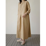 Casual Women Loose Solid Color Pockets Long Sleeve Dress