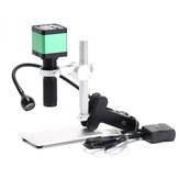HAYEAR 48MP Digital Industrial Video Microscope Camera + 100X C-mount Lens + 56 LED Ring Light For Soldering Repair+ Stand Holder