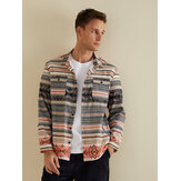 Mens Autumn Double Pockets Printing Long Sleeve Casual Jacke
