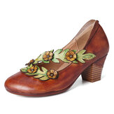SOCOFY Women Flower Decoration Genuine Leather Spring Pumps