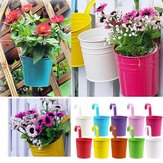 10Pcs Iron Metal Hanging Flower Pot Balcony Plant Garden Planter Home Decorations