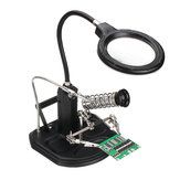 LED Light Soldering Iron Stand Holder Helping Hands Magnifying Glass Magnifier with 3 Arms + Solder Wire Bracket