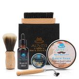 Kit de aseo para barba 6 en 1 para caballero, para hombres, juego de regalo de peine para barba