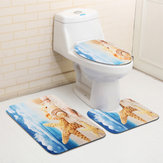 45x75cm 3 piezas Cuarto de baño Mat Set Playa Starfish Sea Shell Patrón Bath Anti Slip Toilet Cover Pedestal Rug Bath Mat